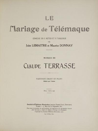 Paris: Société d'Éditions Musicales (ancien Fonds Paul Dupont) , 1910. Folio. Three-quarter conte...