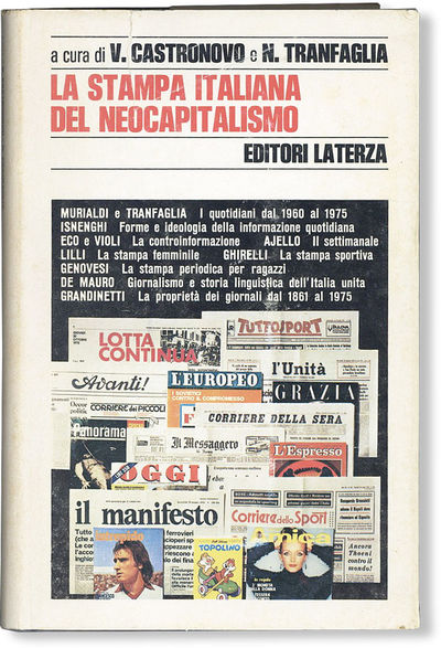 : Editori Laterza, 1976. First Edition. Octavo (21cm.); publisher's cloth in white pictorial dust ja...