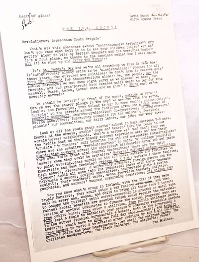 : White Apache Press, n.d.. Single 8.5x11 inch sheet, photocopied on both sides, two small closed ed...