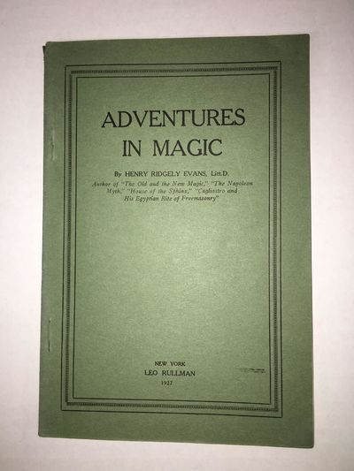 New York: Leo Rullman, 1927. Softcover. Octavo; VG; softcover; dark green spine; covers have minor s...
