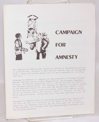 San Francisco: Campaign for Amnesty, 1973. Four-panel brochure, 7x8.5 inches, very good. Introductio...