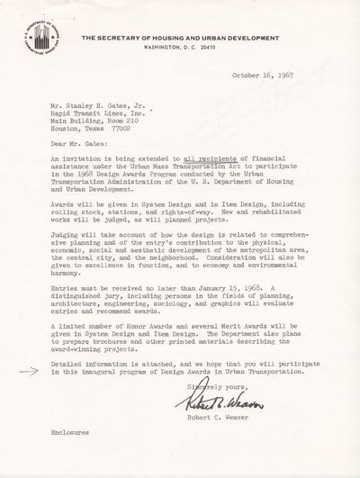 Washington, D. C., 1967. Three items: (1) TLS on HUD stationery from Robert C. Weaver with enclosure...