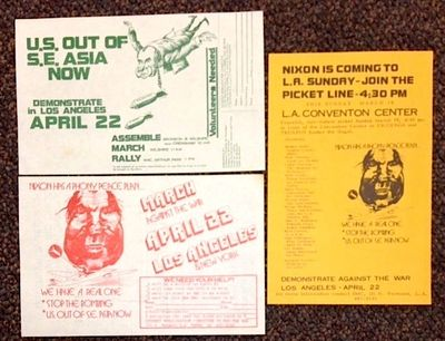 Los Angeles: SMC, 1972. Three 8.5x5 inch handbills, very good, with caricatures of Nixon with bomber...