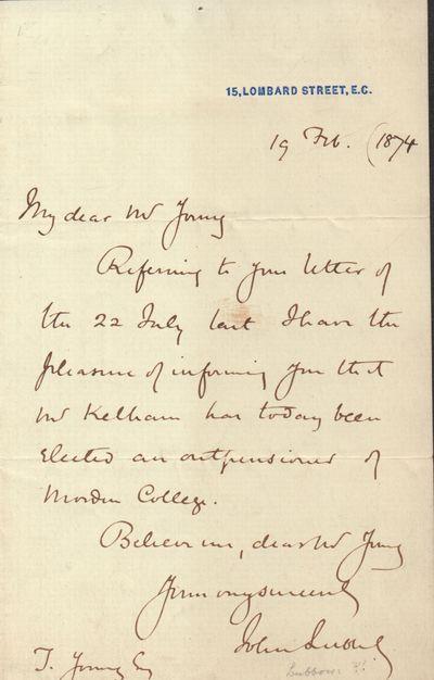 ALS from Sir John Lubbock--1874