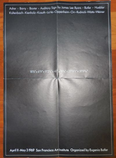 San Francisco: San Francisco Art Institute, 1969. First edition. Loose Sheets. Fine. Single sheet fo...