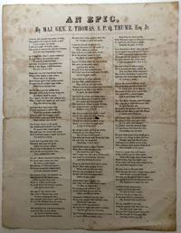 Ca. 1860 Unrecorded broadside class satirical poem, An Epic -  Jefferson College, Washington, PA
