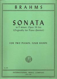 Brahms Sonata in F Minor Opus 34b for Two Pianos, Four Hands (Originally for Piano Quintet)
