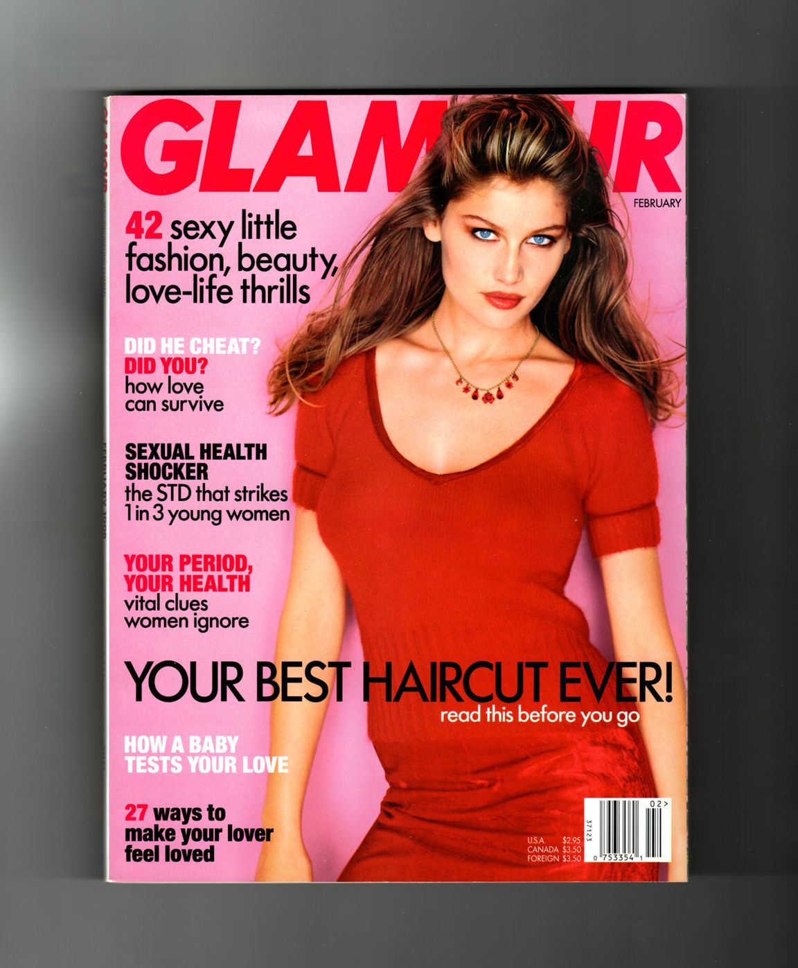 Glamour Magazine February 1998 Laetitia Casta Cover Bridget Fonda 42 Thrills Did He Cheat