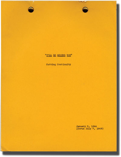 Beverly Hills, CA: Selznick International, 1949. Post-production Cutting Continuity script for the w...