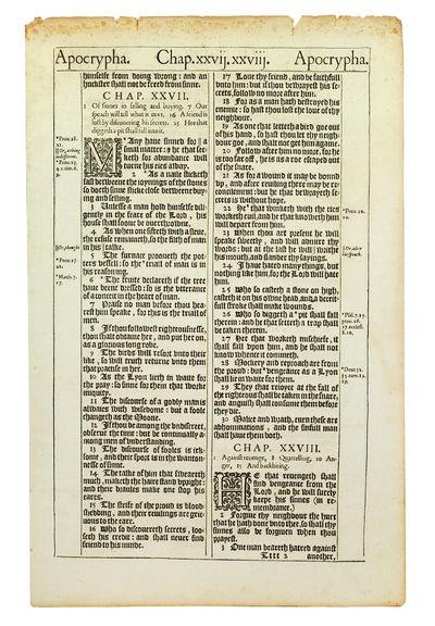 "Single leaf 15 1/2 x 11"". London: Robert Barker, 1611. Single leaf 15 1/2 x 11"", printed on both..."