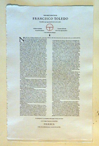 Oaxaca: Imprenta de San Pablo, 2019. Broadside. Fine. Brtoadside, 12 by 19 inches, finely printed by...