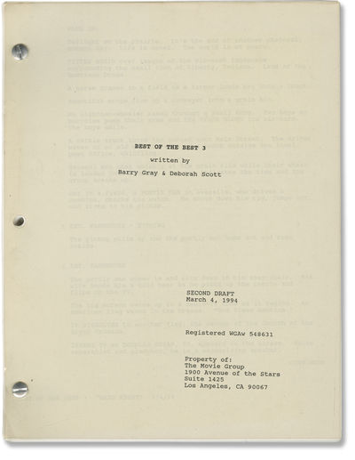Los Angeles: The Movie Group, 1994. Second Draft script for the 1995 film, seen here under the worki...