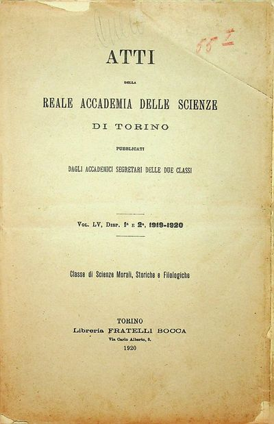 Torino, Italy: Libreria Fratelli Bocca, 1920. First Edition. Wraps. Very Good. First Edition. xliv, ...