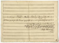 Autograph musical manuscript sketchleaf, being the keyboard part for an unidentified work in F major, in all likelihood a piano quintet. Possibly the last work composed by Hummel before his death on October 17, 1839