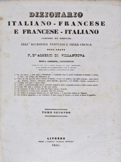 Livorno: Fratelli Vignozzi, 1834. Revised. Hardcover. fair. Quarto. 678pp. Original green half leath...