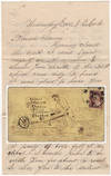 View Image 1 of 3 for Humorous letter to a student at the Clinton Liberal Institute featuring a drawing of him wheelbarrow... Inventory #008916