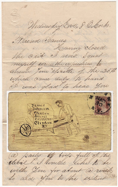 Mohawk, New York, 1857. Unbound. Very good. This envelope features a hand-drawn pen illustration of ...