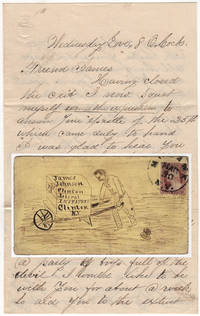 Humorous letter to a student at the Clinton Liberal Institute featuring a drawing of him wheelbarrowing  a crate of clothing and supplies back to school