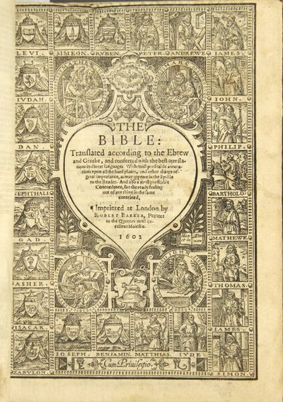 London: Robert Barker, 1602. 4to in 8s, ff. , 434, collating pi2, A1- 3H8, 3I2; followed by the N.T....