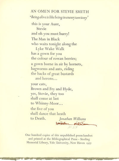 New Haven: Printed at the Bibliographical Press..., 1977. Quarto broadside (30.5 x 23 cm). First edi...