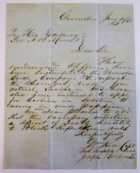 AUTOGRAPH LETTER SIGNED FROM OFFICERS OF THE GREENSBORO CAVALRY COMPANY TO ALABAMA GOVERNOR A.B. MOORE, ANNOUNCING ON THE DAY OF ALABAMA'S SECESSION THEIR READINESS FOR COMBAT AND THEIR SPIRIT OF DEADLY HOSTILITY TO BLACK REPUBLICAN RULE.