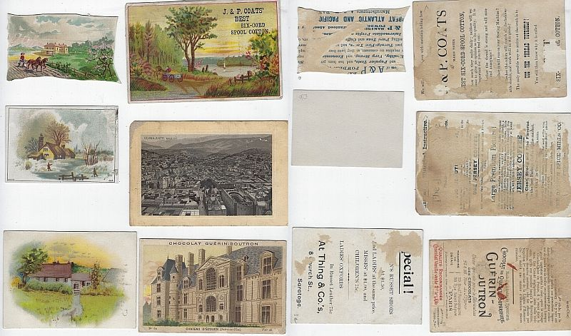 LOT OF SIX SCRAP VICTORIAN TRADE CARDS FEATURING BUILDINGS, Advertisement