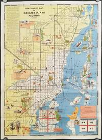 New Tourist Map of Greater Miami Florida in Colors. List of Hotels and Points of Interest.