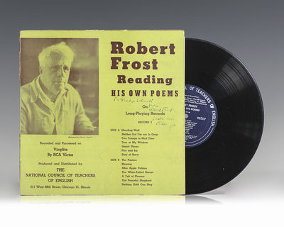 Chicago: The National Council of Teachers of English, c.1949. Original LP of Robert Frost reading hi...