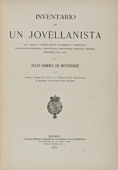 Madrid: Sucesores de Rivadeneyra, 1901. First edition. Hardcover. vg. 4to. 294 pp. Half leather over...