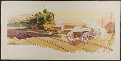 Paris: M.M., 1910. Hand-coloured pochoir print. Very good condition. The Vanderbilt Cup began on Lon...