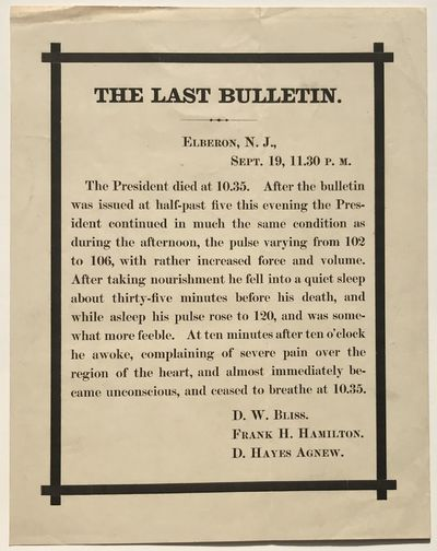 Elberon, N.J., 1881. Very good.. Broadside, 9 x 7 inches. Minor wear and toning. Broadside announcin...
