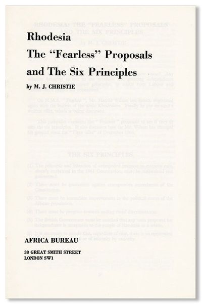 London: Africa Bureau, . First Edition. Octavo (21.5cm.); staplebound self-wrappers; 29pp. Fine.