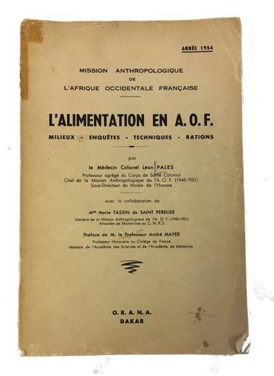 Dakar: Organisme de recherches sur l'alimentation et la nutrition africaines, 1955. Paperback. Good....
