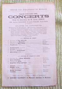 image of Concert Programme for Cercle Des Etrangers De Monaco , 4 Dec. 1897