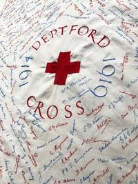 [WWI] [RED CROSS] [NURSING] 1914 - 1919 Deptford Red Cross Cotton Commemorative Embroidered Tablecloth