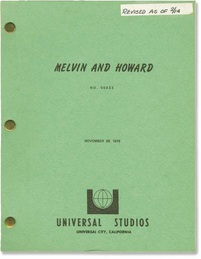 Universal City: Universal Pictures, 1978. Early First Draft Shooting script for the 1980 film, prece...