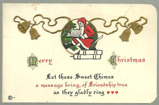 VINTAGE MERRY CHRISTMAS CARD WITH SANTA CLAUS AND GOLD BELLS, Christmas