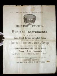 image of Herschel Fenton, Importer of Musical Instruments, Fine Old Italian, French, German and English Violins, Cellos and Double Basses, ..Violin Bows..guitars, Banjos, Etc.