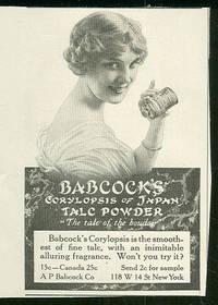 1916 LADIES HOME JOURNAL BABCOCK'S CORYLOPSIS OF JAPAN TALC POWDER  ADVERTISEMENT