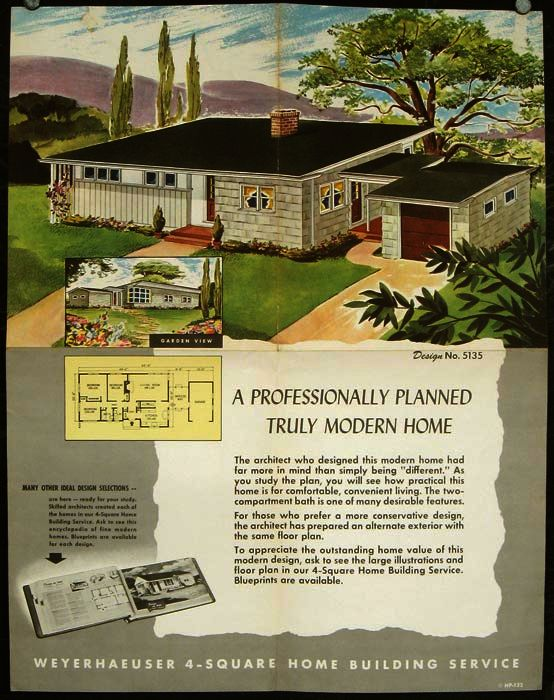 4-Square Book of Homes by Weyerhaeuser by 1950s HOUSE PLANS