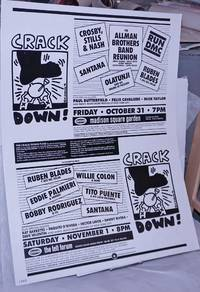Crack Down! [poster for events featuring RUN DMC, Santana, Tito Puente, Crosby Stills and Nash, Allman Brothers and others to raise funds for crack education]