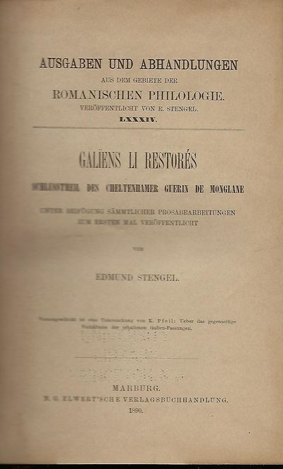 Marburg: Elwert'sche verlagsbuchhandlung, 1890. First Edition. The fourth part of Stengel's Cheltenh...