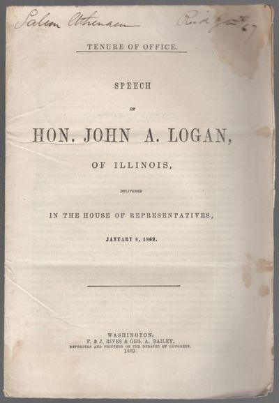 Washington: F. & J. Rives & Geo. A. Bailey, 1869. Softcover. Very Good. First edition. Octavo. 16pp....