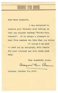 """Typed letter signed (""""Margaret Ayer Barnes""""), Chicago, 5 October 1934"""