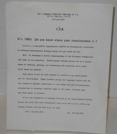 New York: G.L.C.S., 1980. Single 8.5x11 inch handbill with typed text on one side only, 4 paragraphs...