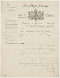 image of LS, in French with translation, as Minister for War, to Citizen Desvaux, (Lazare Nicolas Marguerite, 1753-1823, French Military Engineer and   Minister for War, the 'Organizer of Victory' in 1794)