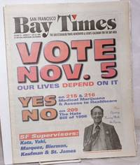 image of San Francisco Bay Times: the gay/lesbian/bi/trans newspaper_calendar of events for the Bay Area; [aka Coming Up!] vol. 18, #3, Oct. 31, 1996; Vote Nov. 5; Our lives depend on it