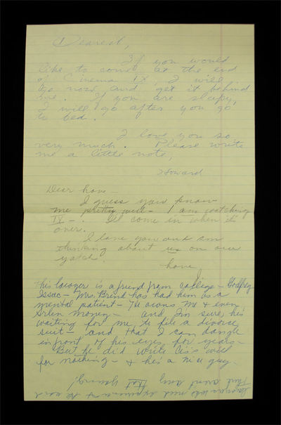 Love Notes Written Between Howard Hughes and his Wife Jean Peters . ALS to his Wife Jean Peters. . O...