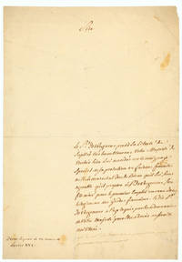 Autograph Letter to Louis XVI in the third person, petitioning the King to recommend his son for a position in the Gardes Françaises; with 2 lines in the hand of Louis XVI