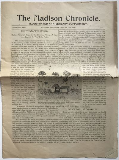 Madison, Ne, 1897. Good plus.. pp. Small newspaper folio. Stitched and folded. Light wear at edges; ...
